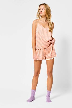 gestreepte pyjamashort Lulu oranje/wit