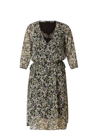 gebloemde semi-transparante jurk Alaisa zwart/groen/ecru
