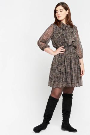 jurk met all over print bruin