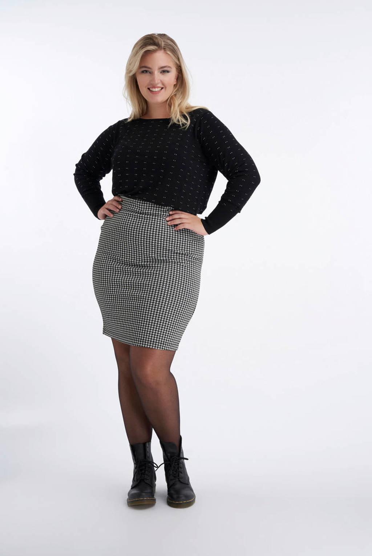 MS Mode kokerrok met pied-de-poule zwart/wit, Zwart/wit