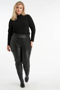 MS Mode imitatieleren slim fit cargobroek zwart, Zwart