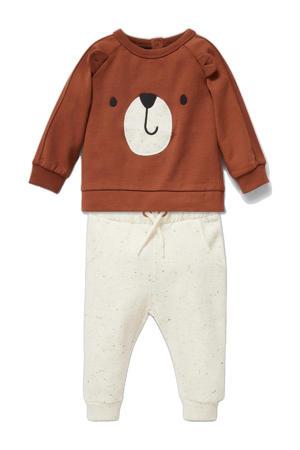 sweater + broek bruin/ecru