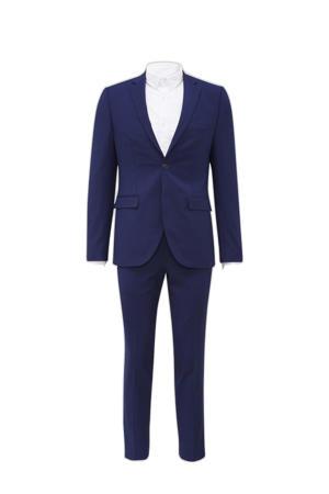 slim fit kostuum kobaltblauw