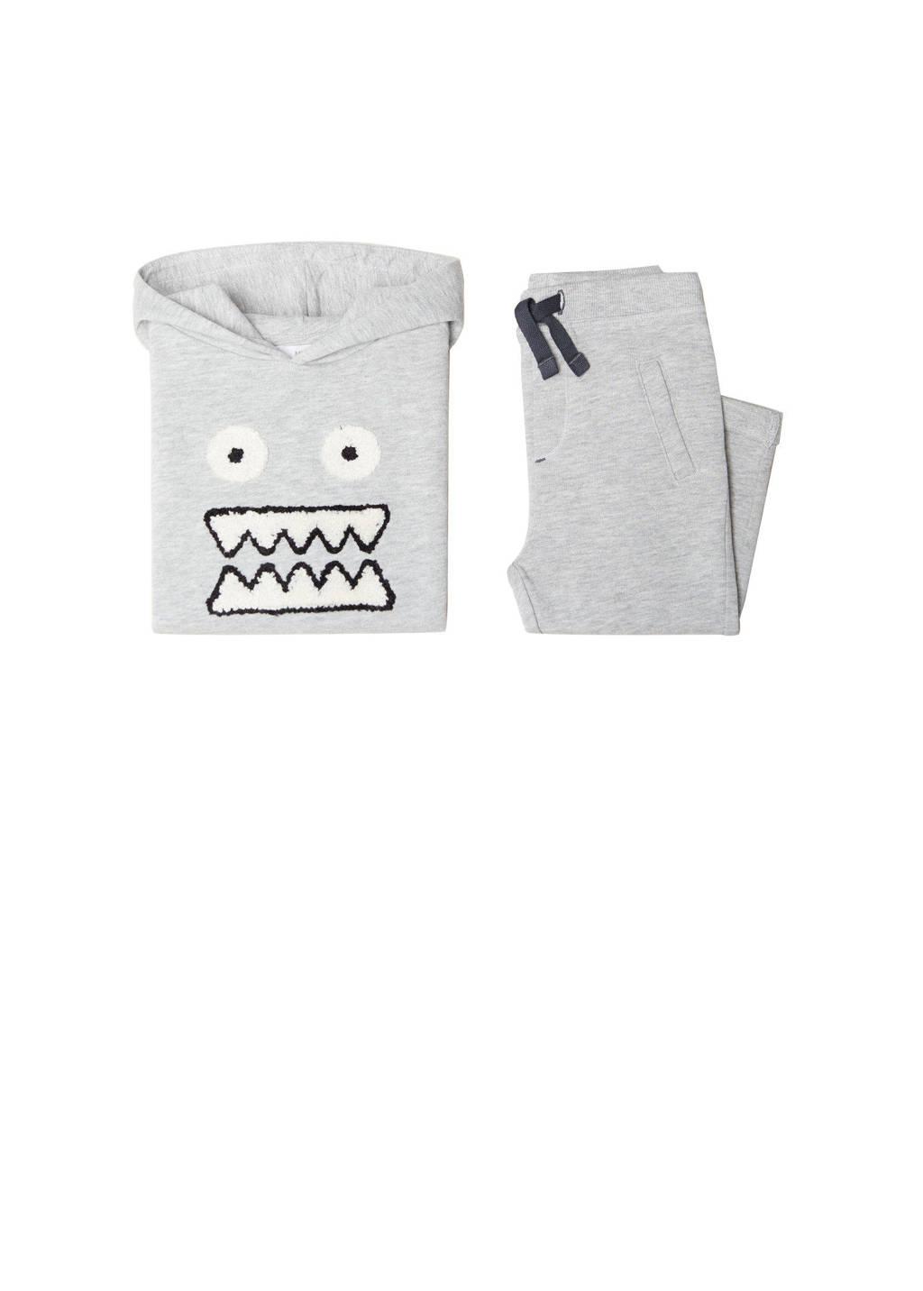 Mango Kids hoodie + sweatpants grijsmelange, grijs melange/wit/zwart