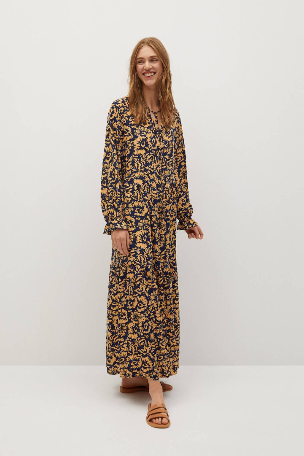 Mango gebloemde maxi jurk geel/ donkerblauw, Geel/ Donkerblauw