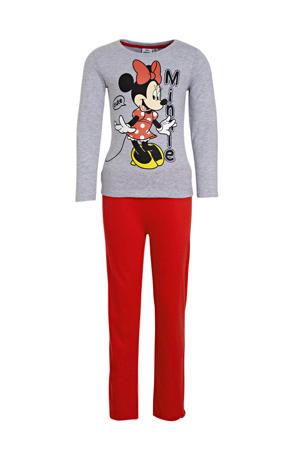 pyjama Minnie mouse grijs melange/rood