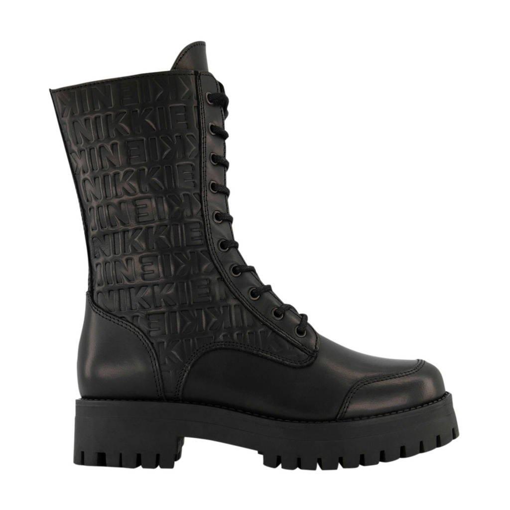 NIKKIE Maura Boots  leren veterboots zwart, Zwart