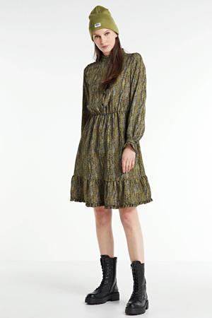 jurk Lanamet slangenprint zwart/ geel