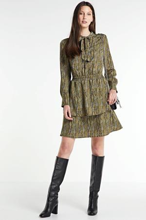 jurk Mila van gerecycled polyester zwart/ geel