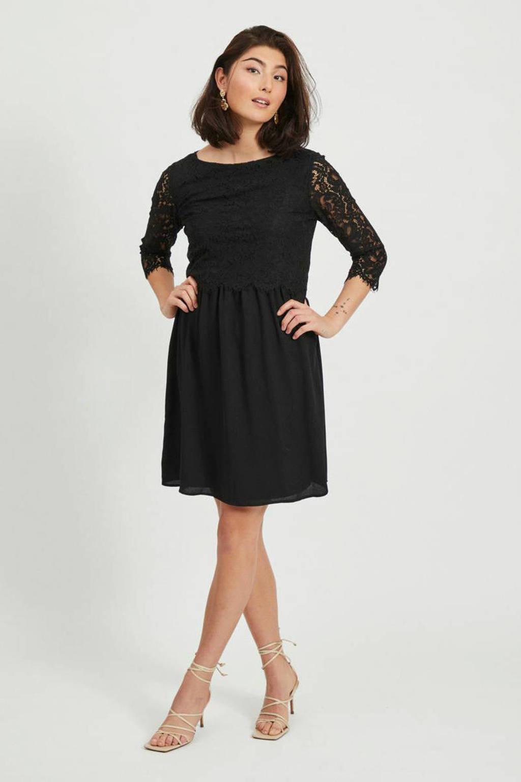 VILA jurk met kant zwart, Zwart