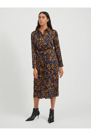 maxi jurk met all over print donkerblauw