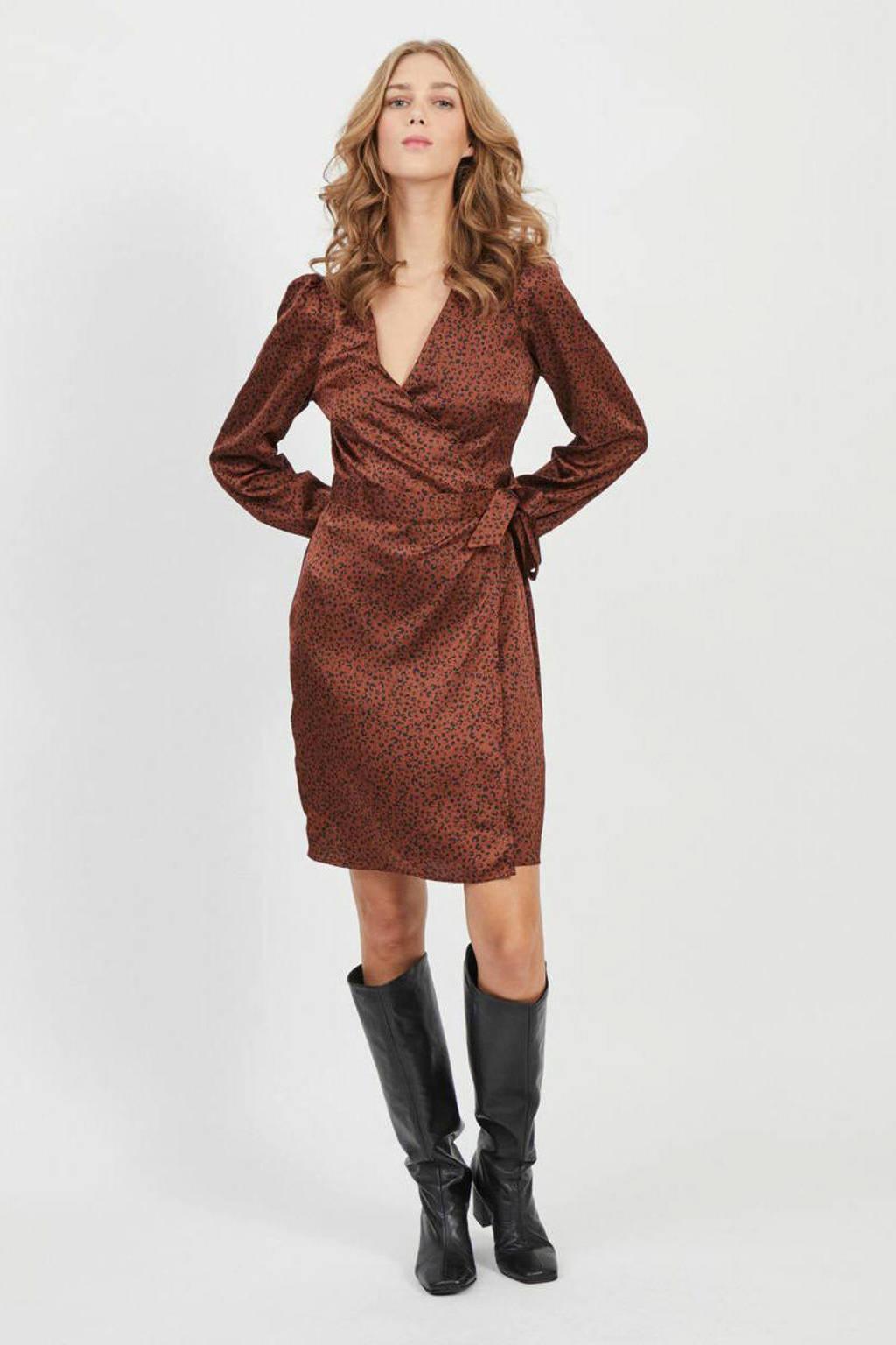 VILA jurk met all over print bruin, Bruin