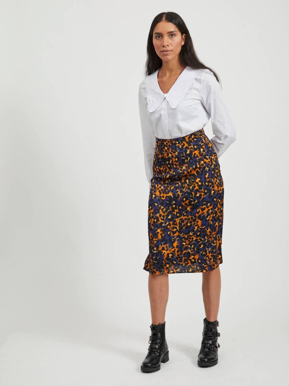 VILA rok met all over print donkerblauw, Donkerblauw/oranje