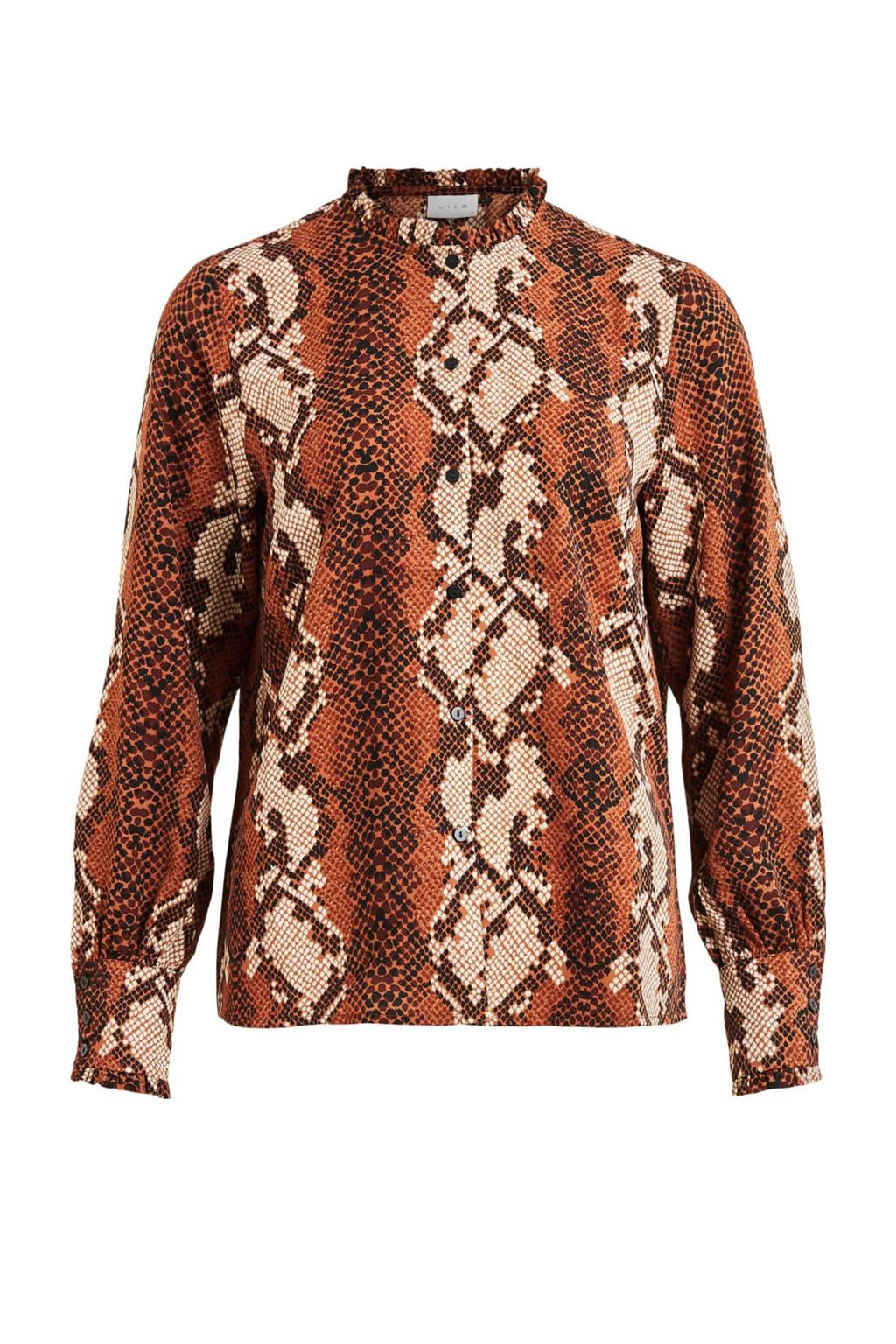 VILA blouse met slangenprint oranje, Oranje