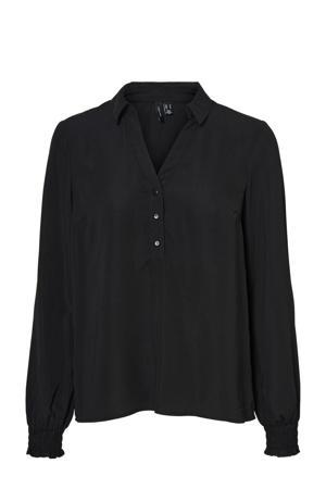 top van gerecycled polyester zwart
