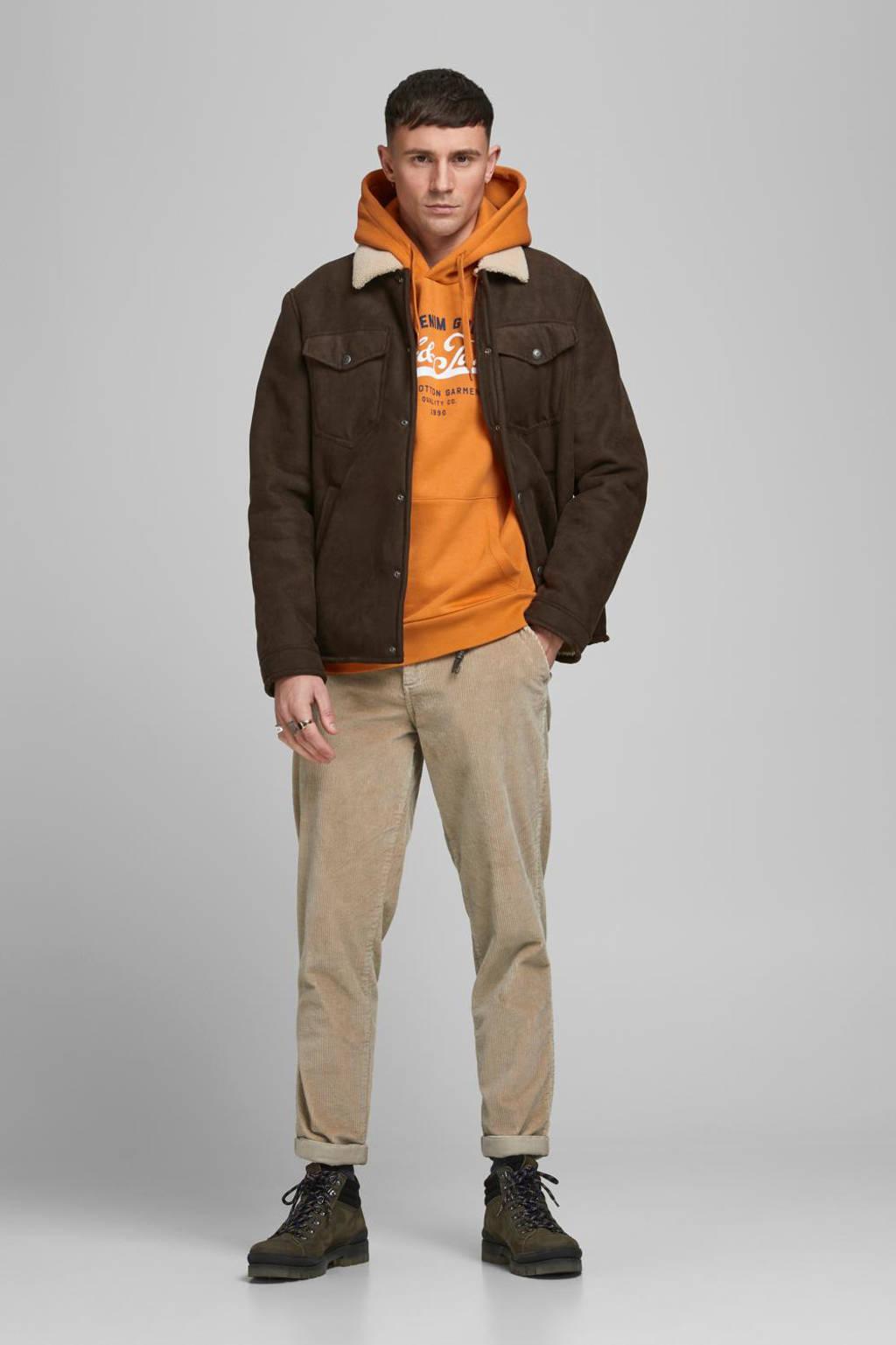 JACK & JONES ESSENTIALS hoodie met logo oranje, Oranje