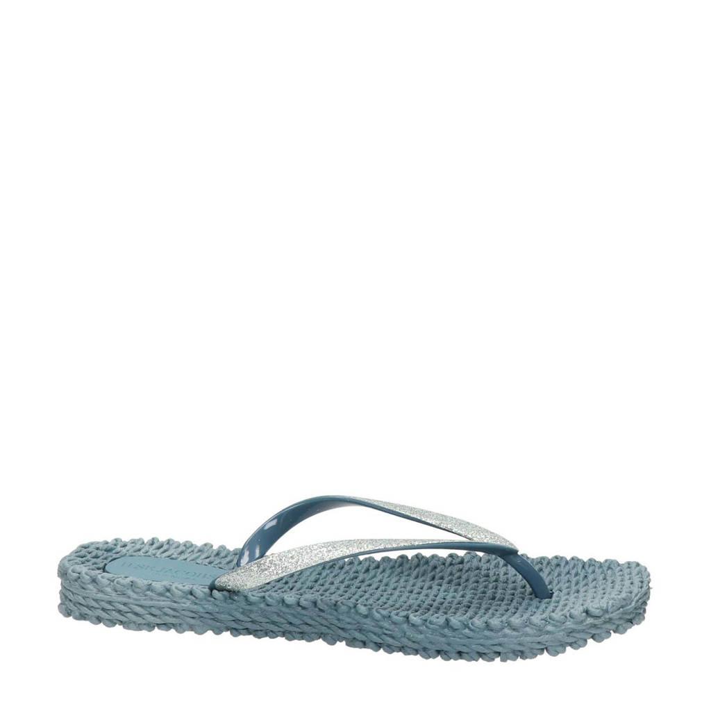 Ilse Jacobsen Cheerful  teenslippers met glitters lichtblauw, Lichtblauw