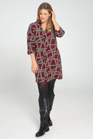 tuniek met all over print donkerrood/zwart/wit
