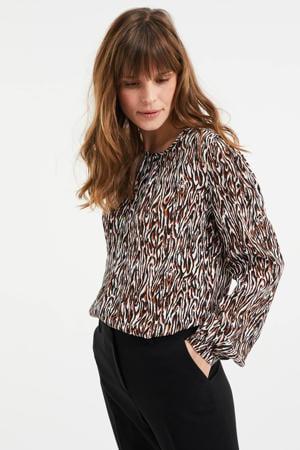 blouse met all over print zwart