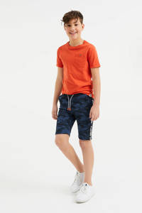 WE Fashion slim fit sweatshort met camouflageprint donkerblauw, Donkerblauw