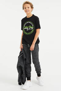 WE Fashion Salty Dog T-shirt met tekst zwart/wit/groen, Zwart/wit/groen