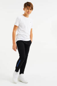 WE Fashion slim fit joggingbroek met zijstreep zwart/blauw, Zwart/blauw