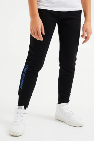 slim fit joggingbroek met zijstreep zwart/blauw