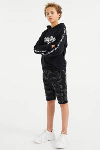 WE Fashion Salty Dog slim fit sweatshort- Salty Dog met camouflageprint antraciet/grijs, Antraciet/grijs