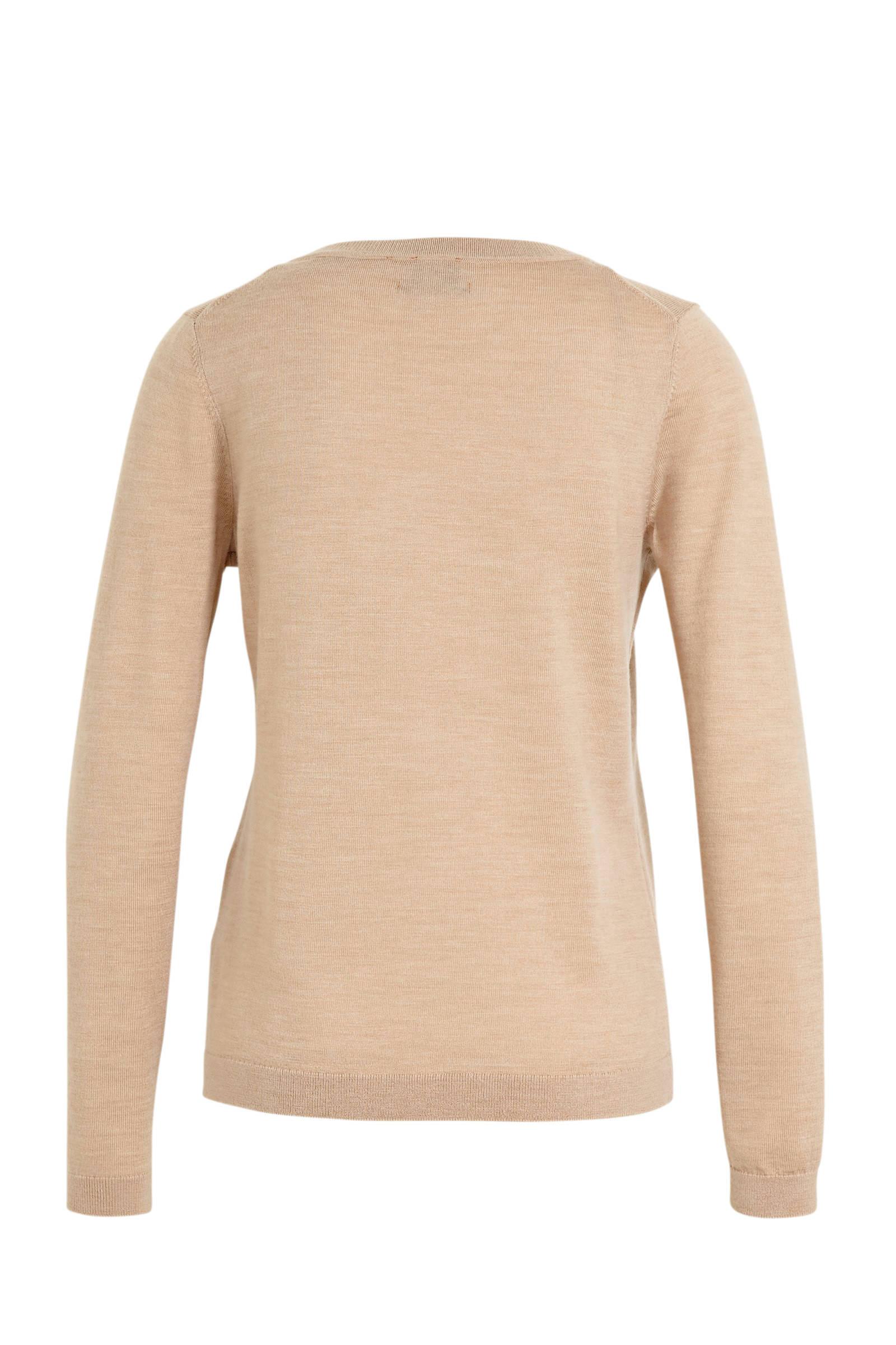 C&A fijngebreide wollen trui beige | wehkamp
