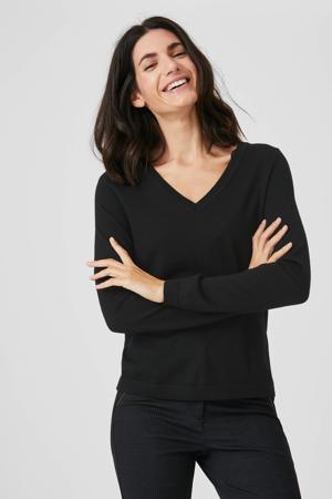 fijngebreide wollen trui zwart