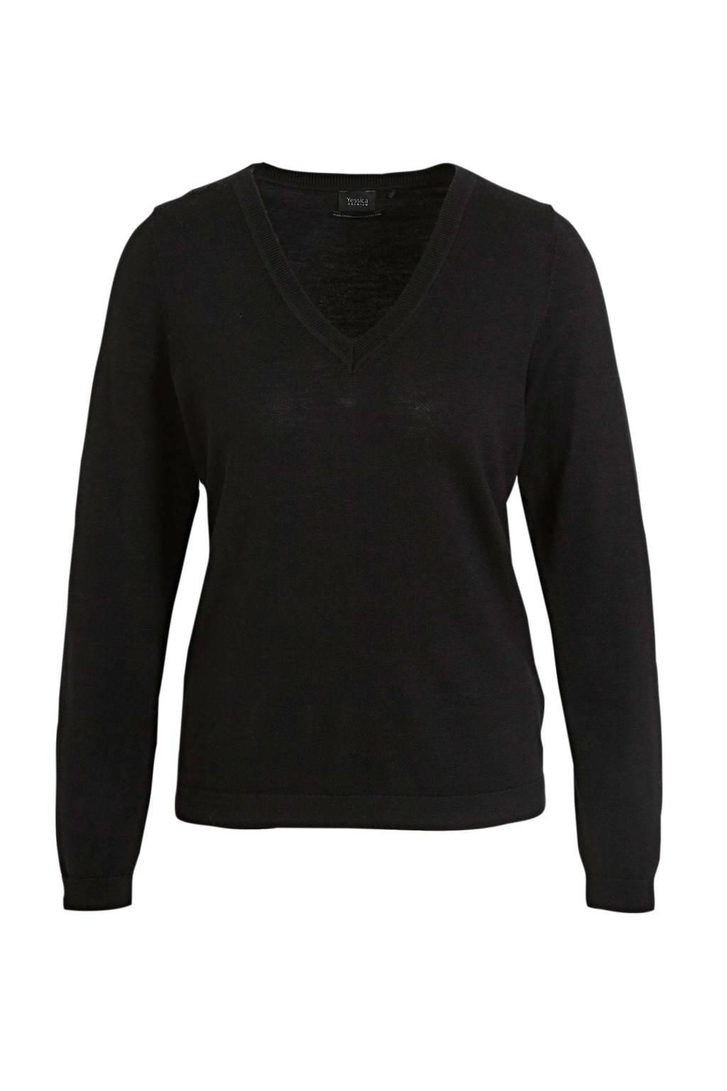 C&A fijngebreide wollen trui zwart, Zwart