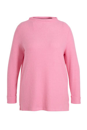 ribgebreide trui roze