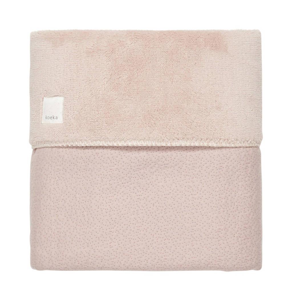 Koeka baby ledikantdeken teddy Riga 100x150 cm grey pink, Oudroze