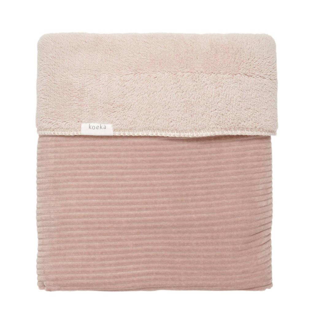 Koeka baby ledikantdeken teddy Vik 100x150cm grey pink, Oudroze