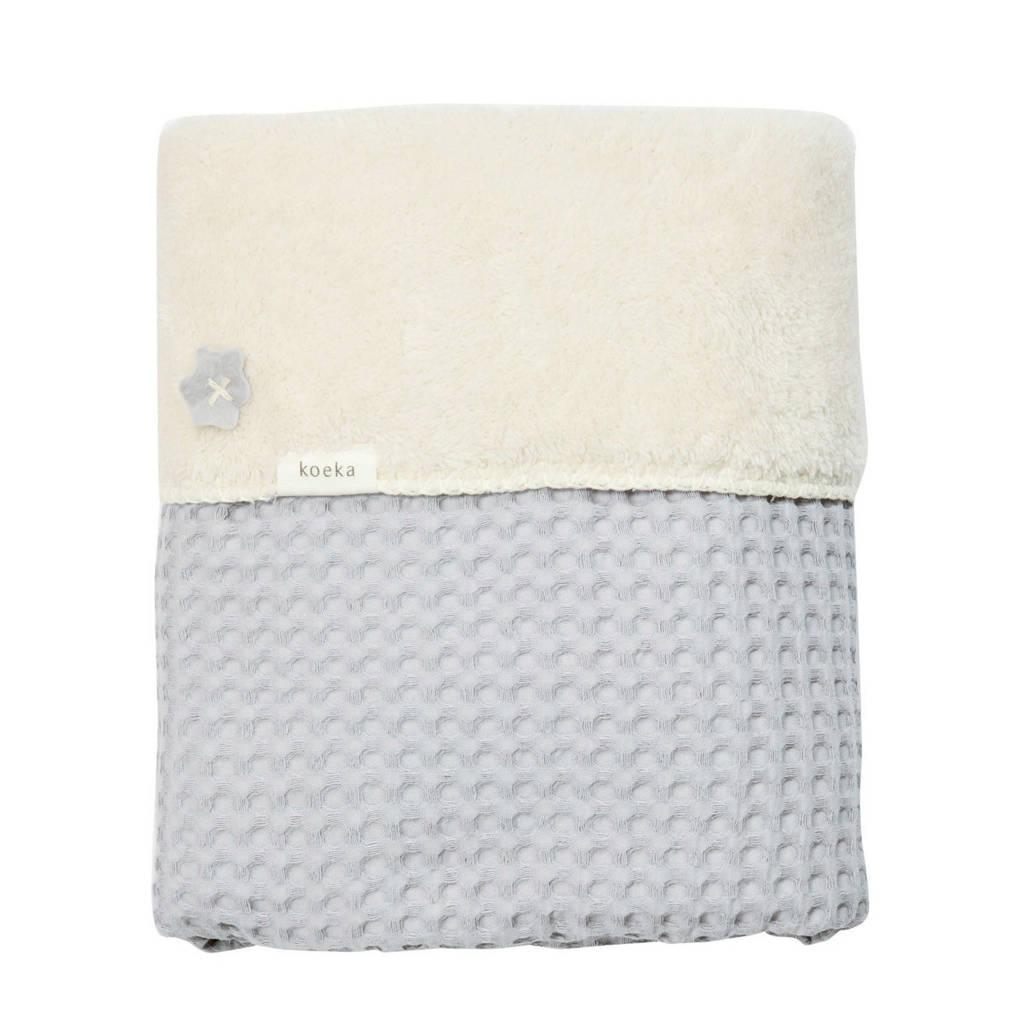 Koeka Oslo baby ledikantdeken wafel/teddy 100x150 cm silver grey, Zilvergrijs