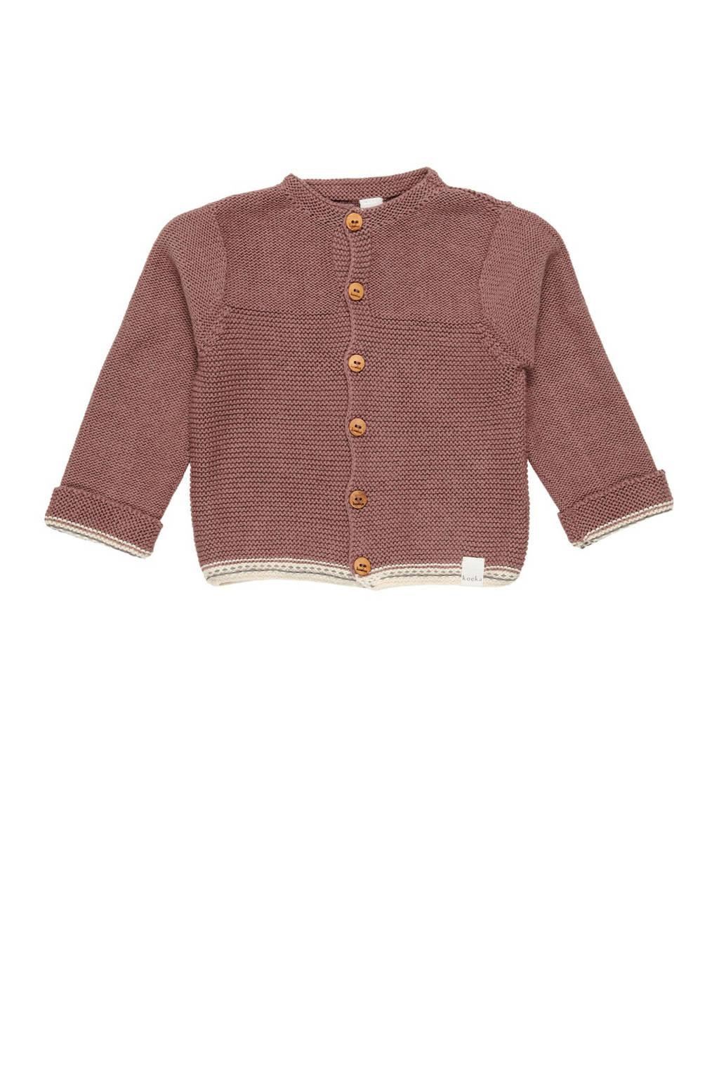Koeka baby fijngebreid vest met contrastbies plym, Plym