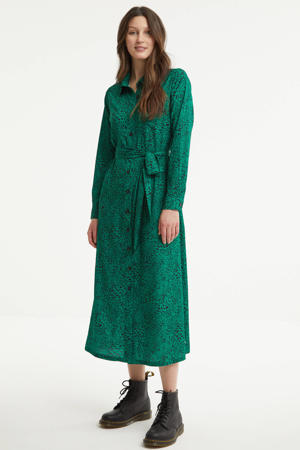 blousejurk Desiree met all over print en ceintuur groen