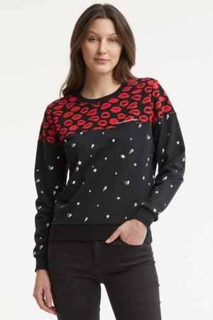 sweater Lips stars met sterren zwart/ rood