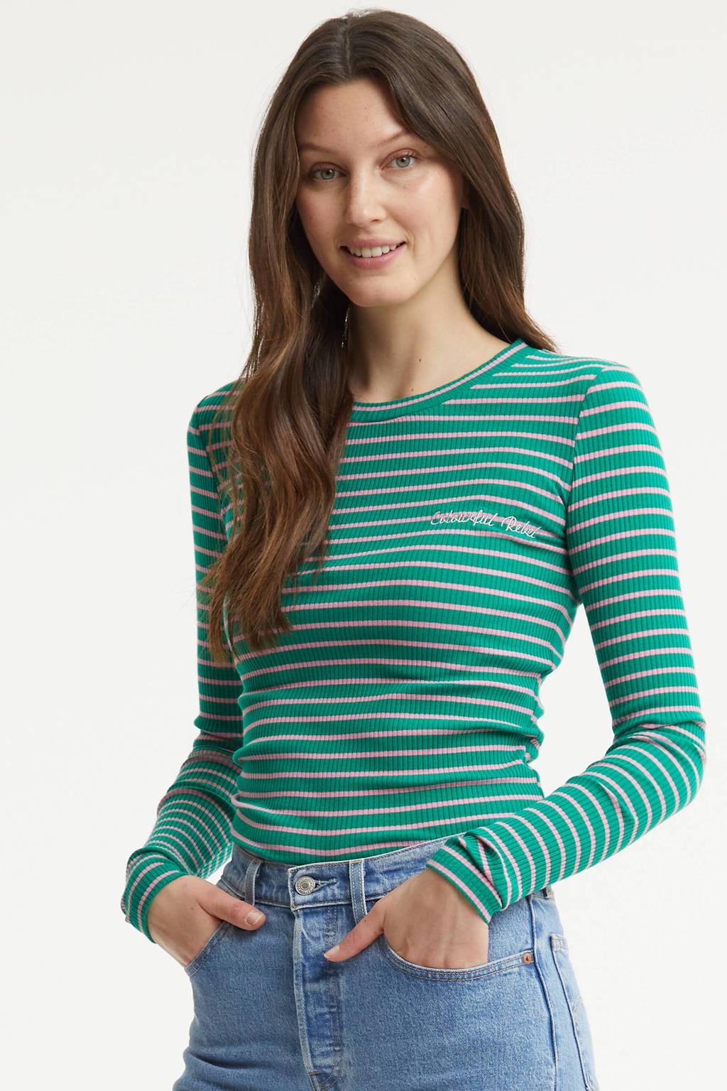 Colourful Rebel gestreepte longsleeve Gabi groen, Groen