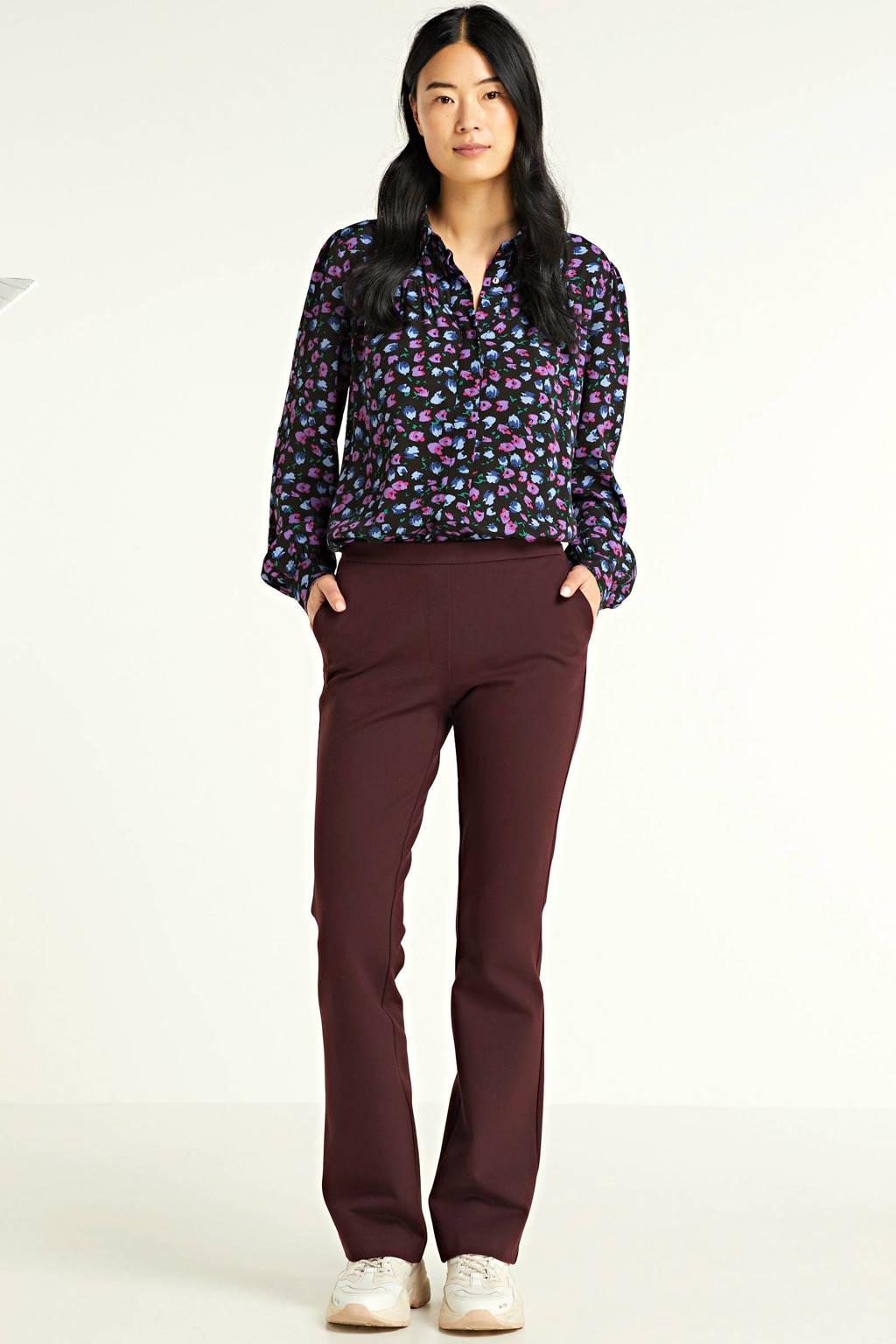 Modström gebloemde blouse Genia zwart/ roze, Zwart/ roze