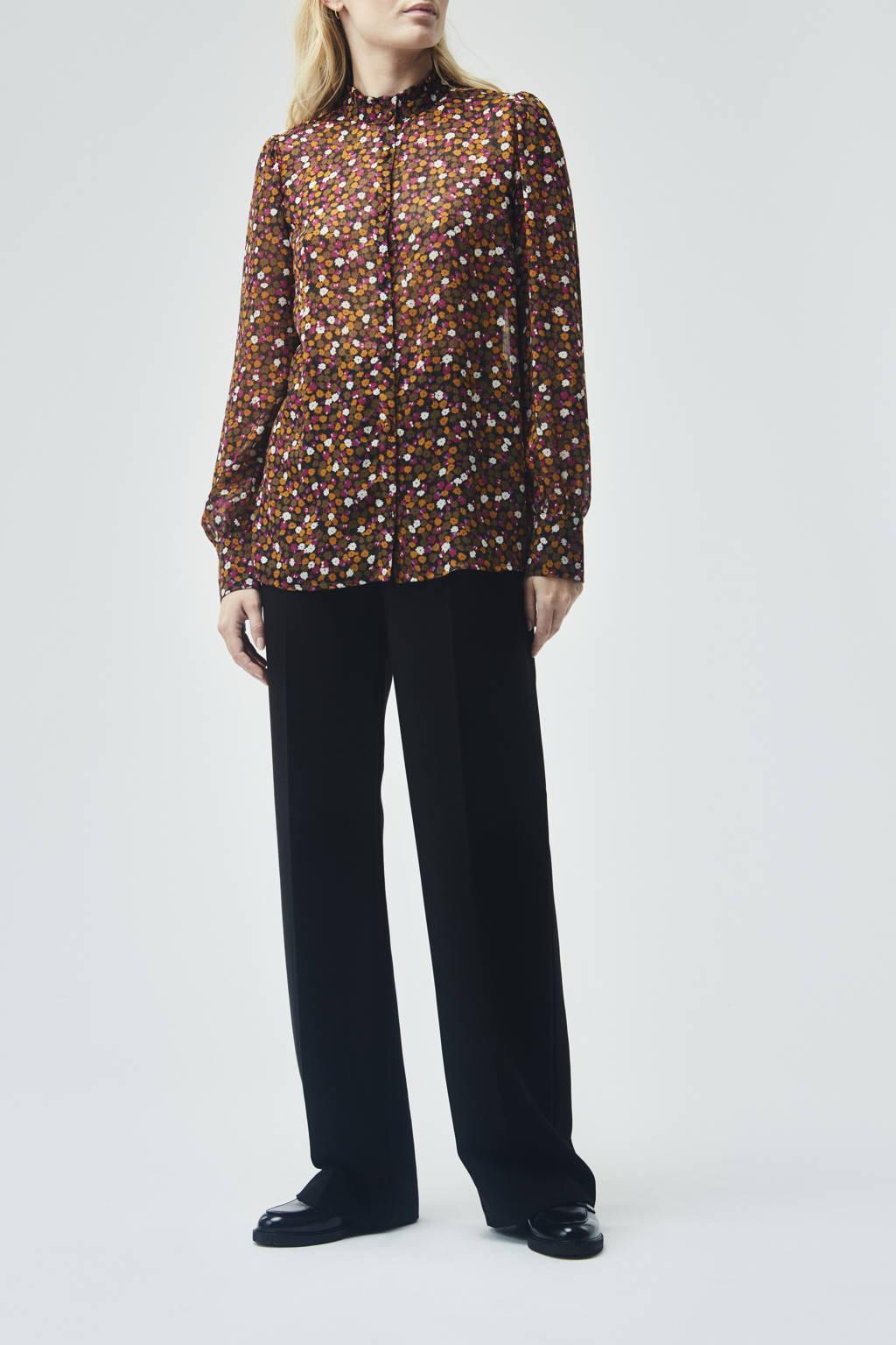 Modström gebloemde semi-transparante geweven blouse Gryffin van gerecycled polyester bruin/ fuchsia, Bruin/ fuchsia