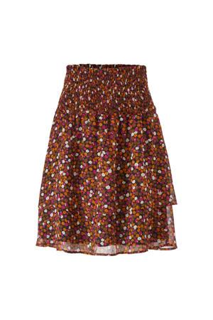 gebloemde semi-transparante rok Gryffin van gerecycled polyester bruin/ fuchsia
