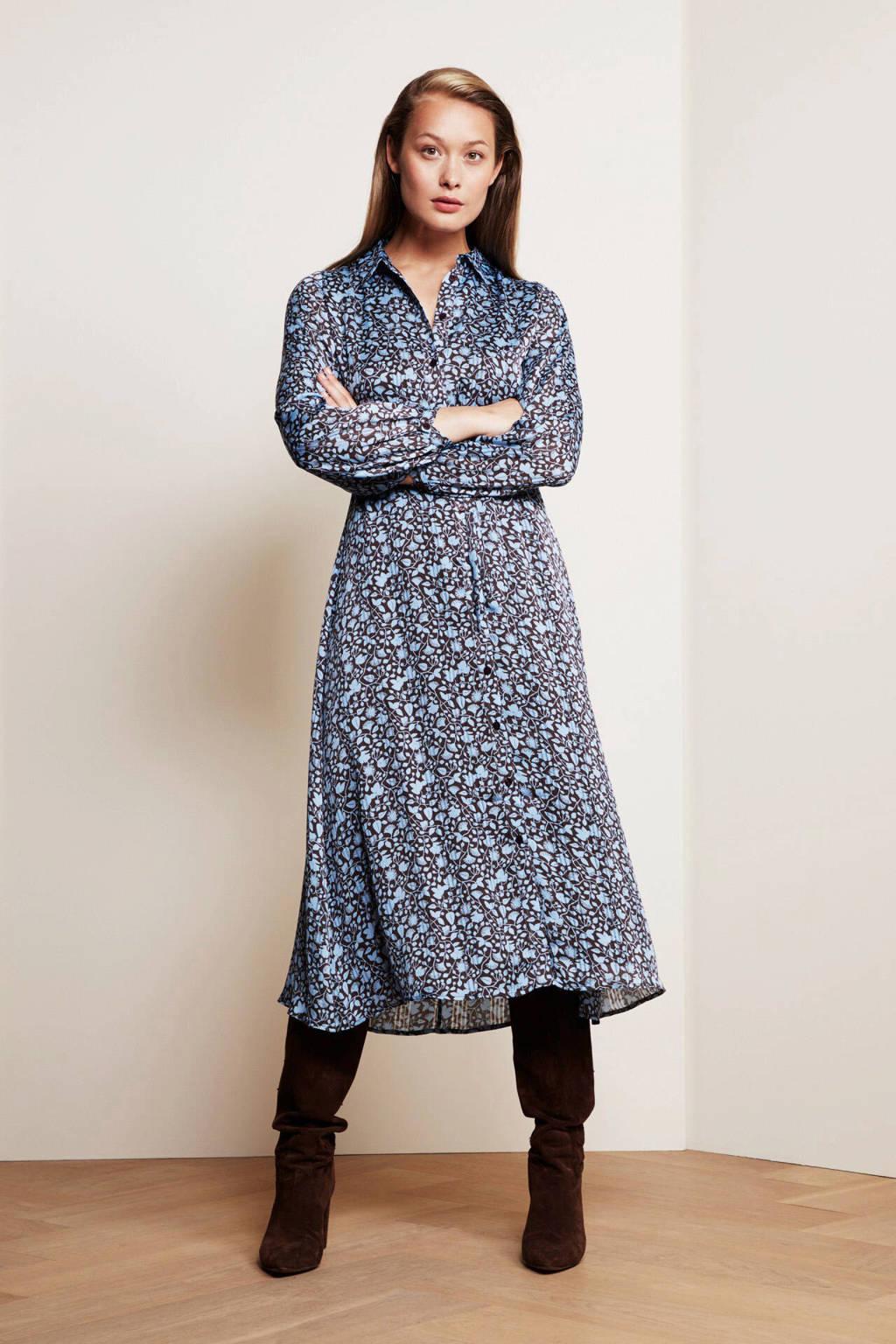 Fabienne Chapot blousejurk Frida van gerecycled polyester blauw/bruin, Blauw/bruin