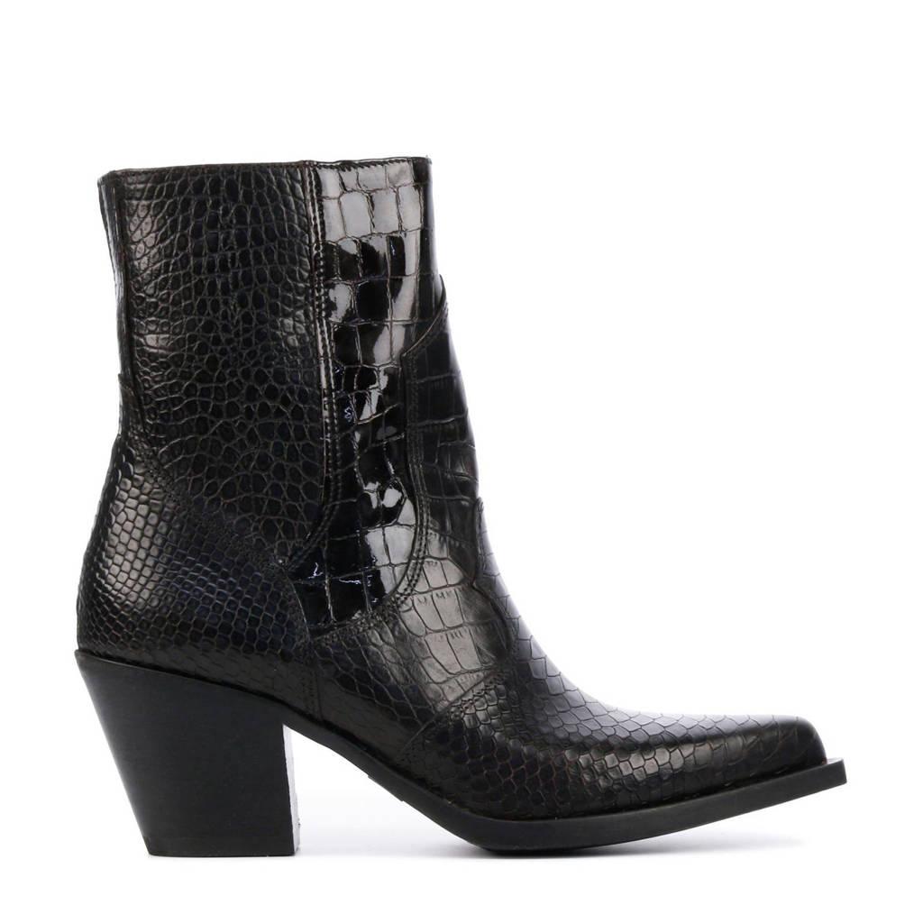 Via Vai 5502042  leren cowboylaarzen met crocoprint zwart, zwart/donkerbruin