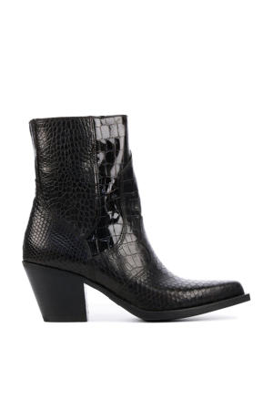 5502042  leren cowboylaarzen met crocoprint zwart
