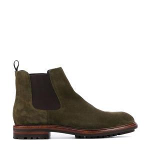 UG23  suède chelsea boots olijfgroen