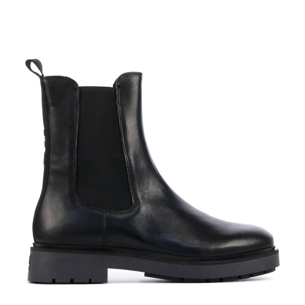 Via Vai 5505032  hoge leren chelsea boots zwart, Zwart