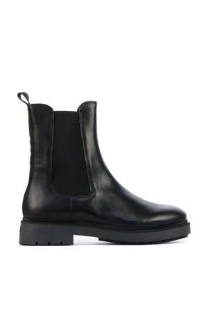 5505032  hoge leren chelsea boots zwart