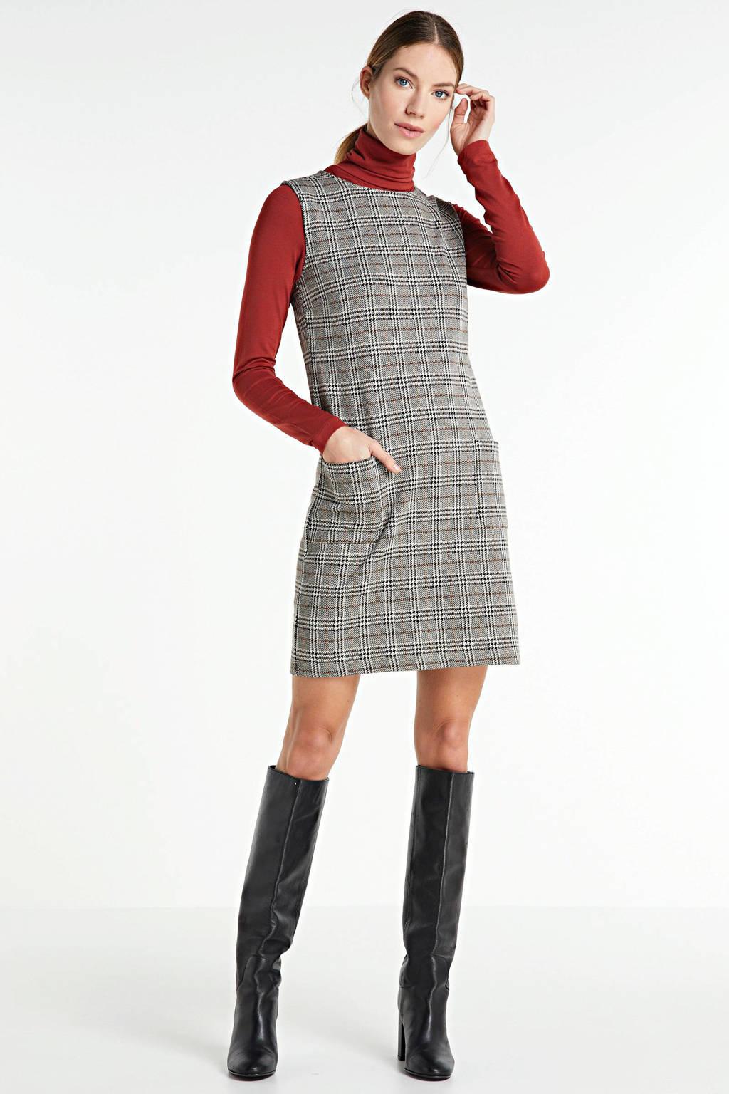 anytime jurk met ruitpatroon ecru/camel/zwart, Ecru/camel/zwart