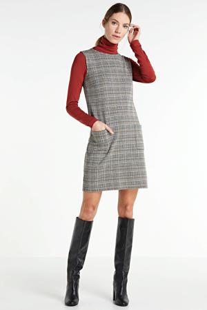 jurk met ruitpatroon ecru/camel/zwart